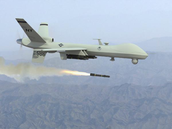 Запуск ракеты с американского беспилотника
