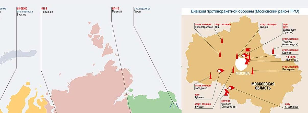 Расположение ПВО Московской области