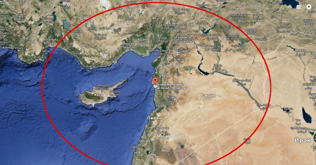 Зона прикрытия ЗРК Триумфатор в Сирии