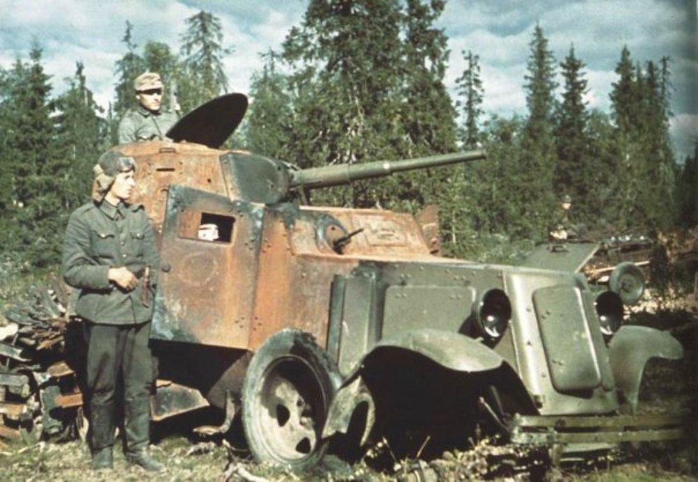 Советские БА-6, подбитые гитлеровцами