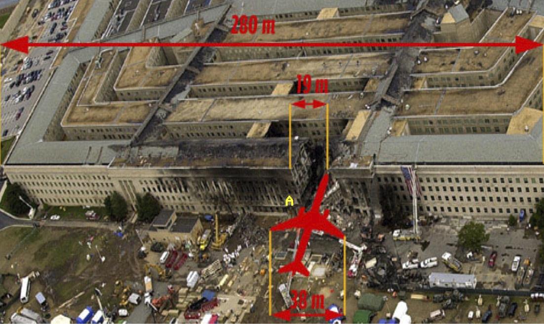 Пролом в здании Пентагона: сравнительные размеры