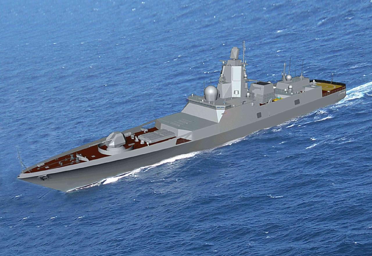 Корабль проекта 22350 на воде