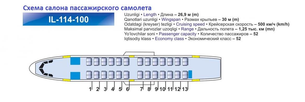 Схема салона Ил-114