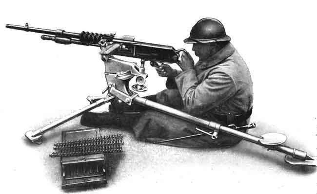 Стрельба из пулемета Гочкиса