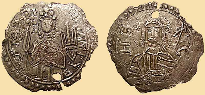 Древняя монета с трезубцем