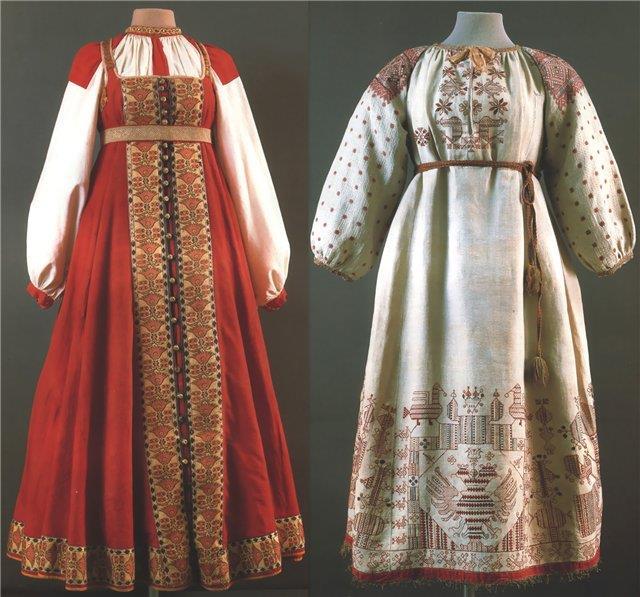 Женские костюмы средней полосы и юга России
