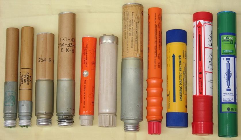 Сигнальные ракеты разных лет и систем